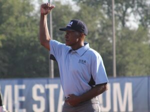 Umpire calling out